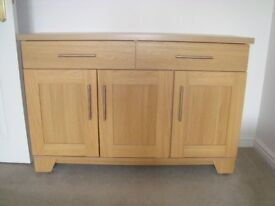 MODERN LIGHT OAK SIDEBOARD and Matching 2 door Glass Fronted Cabinet