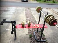Weight lifting bench & weights