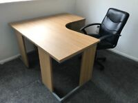 Home Office Oak Desk, Drawers and Chair