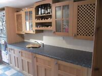Solid Oak kitchen (4 wall & 3 base units, double door, rack, worktop, sink, reduced for quick sale