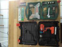 Black & Decker Cordless Drill with full Bosch drill bit set
