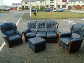 Blue Leather Three Seater + 2 x Single Chairs and Square Foot Stool