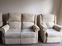 Cream sofa and matching chair