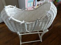Mothercare white wicker moses basket with rocking stand & sheets