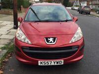 2008 Peugeot 207 S, Manual, 5 Doors, 1.4 Petrol, Red Colour, Full MOT, Service History, AC, 2 Key