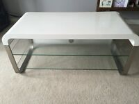 White Gloss TV Stand with Glass shelves John Lewis