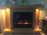 Electric fireplace with spotlights