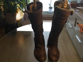 UK Size 8 - Manas Fur-Lined Knee-High Brown Leather Boots - Bought for £180