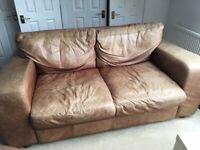 Retro look brown leather sofa