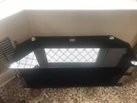 TV stand in black glass, chrome legs, beautiful condition