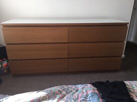Double bed, chest of drawers, bedside unit
