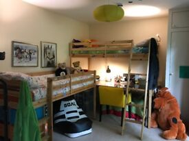 Children twin bunk beds loft with desk underneath, chest of drawers and small storage also available