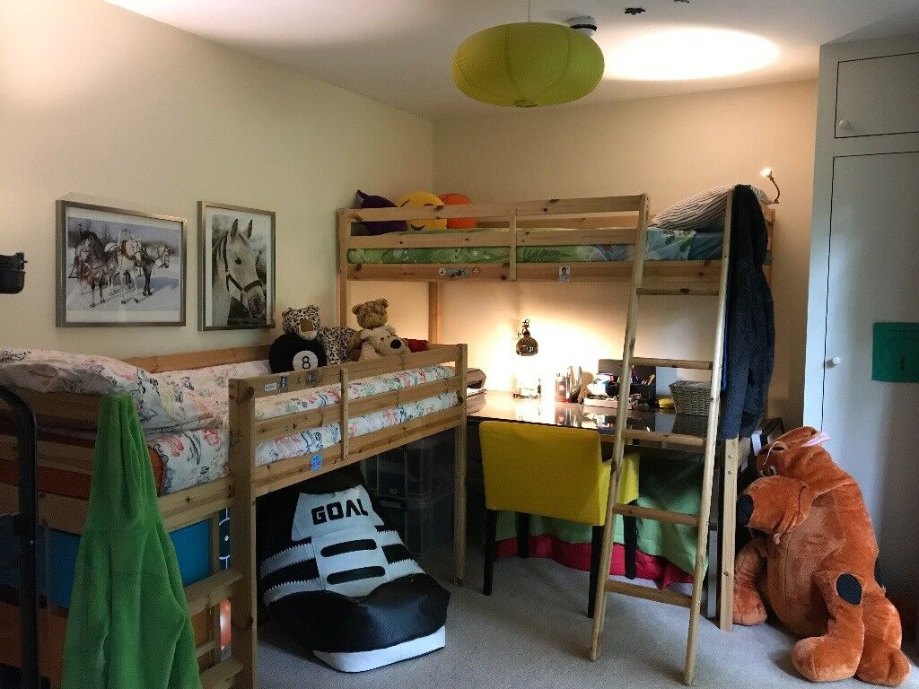 Children Twin Bunk Beds Loft With Desk Underneath Chest Of Drawers
