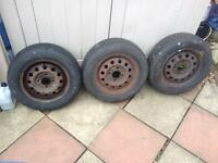 Three 165/70/13 Tyres on Ford Rims