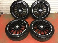 18'' GENUINE MERCEDES BENZ AMG CLA A B CLASS ALLOY WHEELS TYRES ALLOYS BLACK MULTISPOKE 5X112