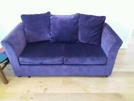 Purple velvet sofa bed in excellent condition