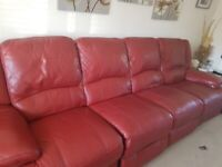 Beautiful Red Leather 4 seater Power Recliner Sofa Good Condition ... Reduced further for quick sale
