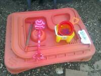 Elc Sandpit With a lid and accessories