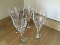 4 x Crystal Cut White Wine Glasses