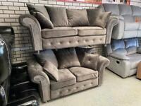 BRAND NEW GREY PLUSH VELVET 3 and 2 SEATER SOFA CHESTERFIELD BUTTONS GRAY SCATTER PILLOW CUSHIONS