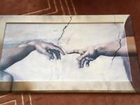 Large framed print picture painting. Michelangelo creation of Adam, Sistine chapel