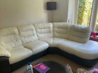 DFS leather corner sofa & barely used large swivel chair