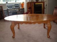hardwood circular coffee table