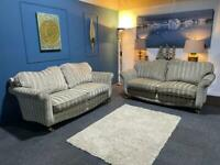 SCS Striped suite in silver and gold. 2 and 3 seater sofas
