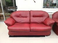 Cherry Red Leather 3 Seater Sofa & Reclining Chair