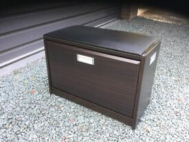 Sturdy dark wood shoe storage cabinet/seat ottoman for entry or hallway