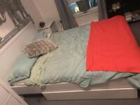 White ikea double bed and mattress