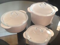 Pyroflam Round Casserole Set of 3 with Lids(White)