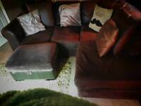 Brown corner sofa, Mink crushed velvet cushions and footstall