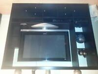 Modern Ikea entertainment stand in black brown