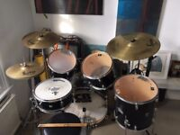 2nd Hand Starter Full Drum Kit, with cymbals, snare, toms, stands and pedals