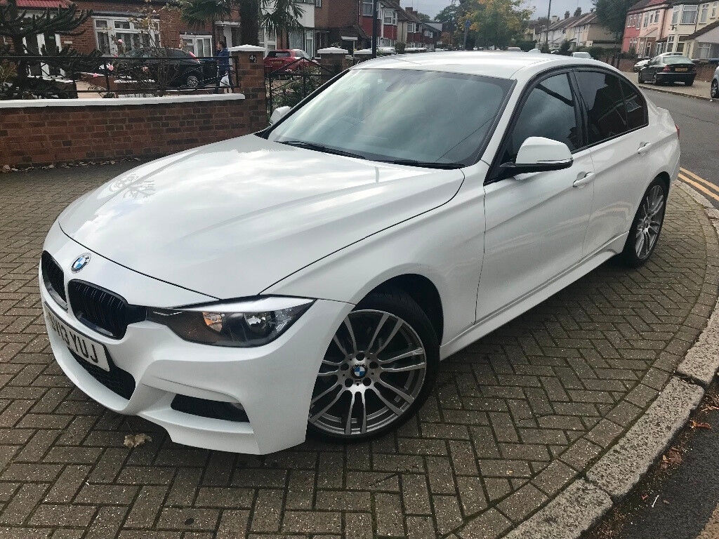2013 13 bmw 3 series 320i m sport 2 0 petrol manual 5 dr saloon white with black leather in. Black Bedroom Furniture Sets. Home Design Ideas