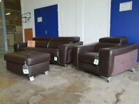 BRAND NEW JAX BROWN LEATHER SUITE 2 SEATER SOFA, POWER RECLINER ARMCHAIR & FOOTSTOOL CAN DELIVER