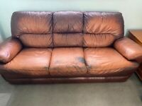 3 seater leather sofa-Free - Need to be gone by Friday - buyer to collect