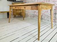 Tapered Leg Mid-Century modern Living Hardwood Dining Kitchen Table with Drawers