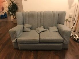 Antique vintage winged sofa / loveseat in blue upholstery