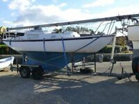 Wing 25 Sailing Yacht / Boat on Galvanised Road Trailer