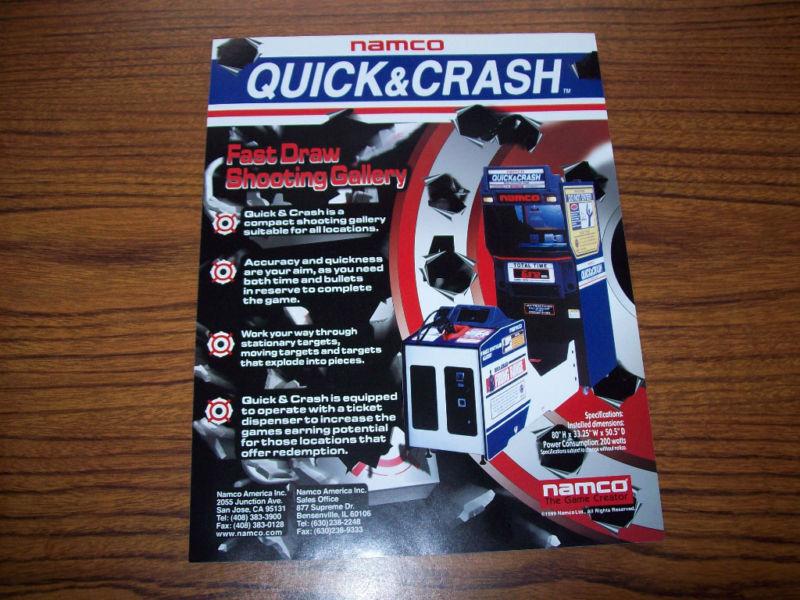 NAMCO QUICK & CRASH NOS ORIGINAL VIDEO ARCADE GAME FLYER BROCHURE 1999