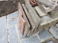 Free: Red bricks, paving slabs and concrete blocks.
