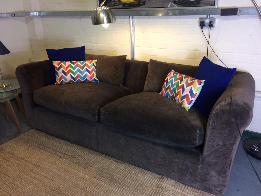 Habitat Louis 3 seater sofa in Chocolate Velvet RRP £1800