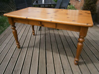 Farmhouse Solid Pine Dining Table With Drawer Shabby Chic Project ? Chairs Free