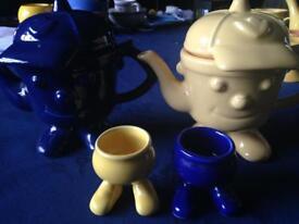 Novelty tea pots and egg cups