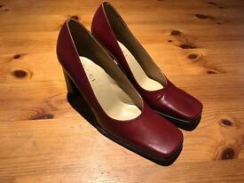 Burgundy Red leather Gucci Heel Shoes