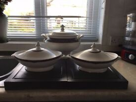 Large Royal Doulton Byron Soup Tureen and 2 Vegetable Tureens