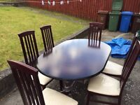 Solid Mahogany Table and 6 chairs (Extendable)