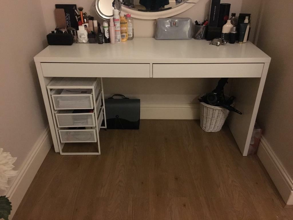 White Ikea Desk Dressing Table With Two Drawers And Wire